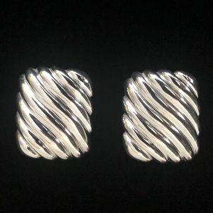 Vintage Modernist Ribbed Sterling Earrings